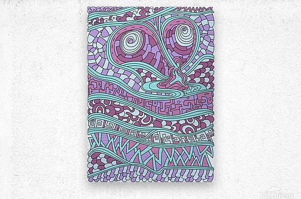 Wandering Abstract Line Art 03: Pink  Metal print