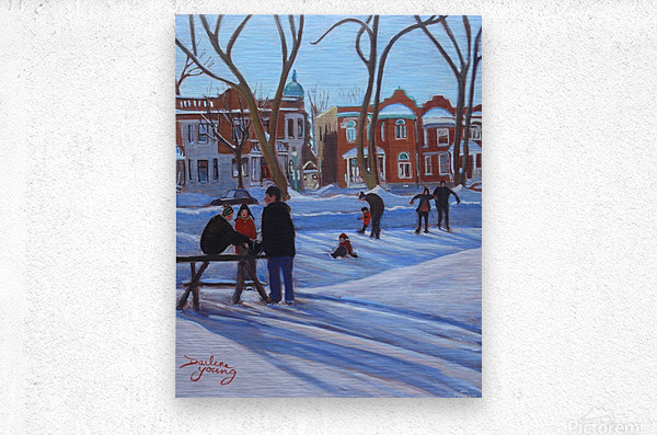 Learning to Skate at Outremont Park  Metal print
