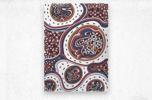 Wandering Abstract Line Art 06: Orange  Metal print