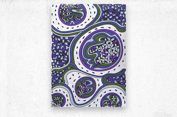 Wandering Abstract Line Art 06: Purple  Metal print