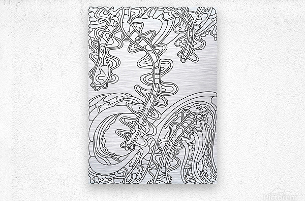 Wandering Abstract Line Art 07: Black & White  Metal print