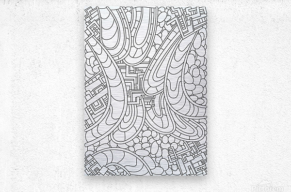 Wandering Abstract Line Art 09: Black & White  Metal print