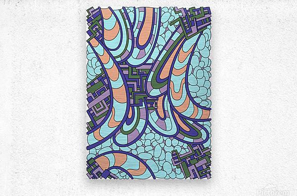 Wandering Abstract Line Art 09:   Metal print
