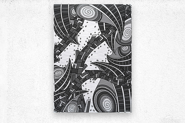 Wandering Abstract Line Art 10: Grayscale  Metal print