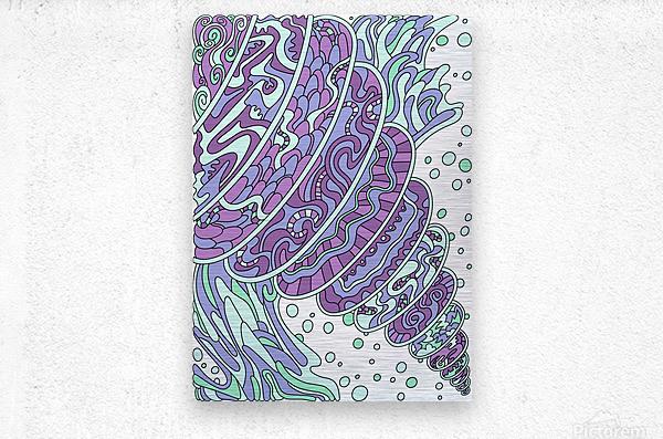 Wandering Abstract Line Art 11: Purple  Metal print