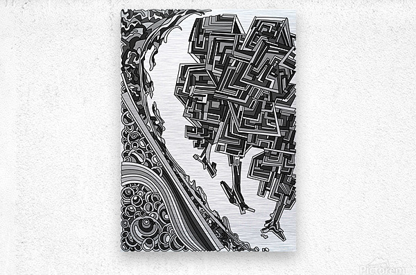 Wandering Abstract Line Art 12: Grayscale  Metal print