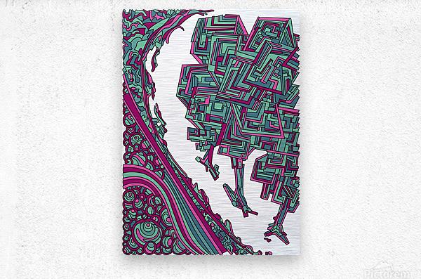 Wandering Abstract Line Art 12: Magenta  Metal print