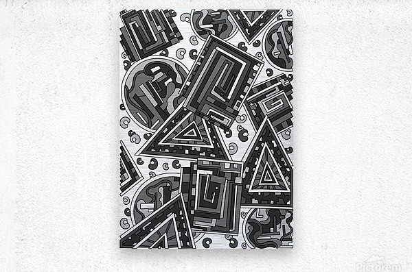 Wandering Abstract Line Art 15: Grayscale  Metal print