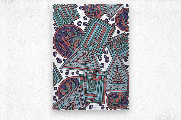 Wandering Abstract Line Art 15: Blue  Metal print
