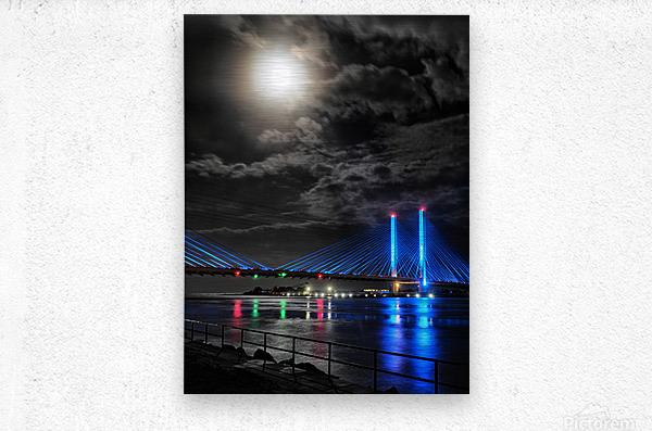 Blood Moon over the Indian River Bridge  Metal print