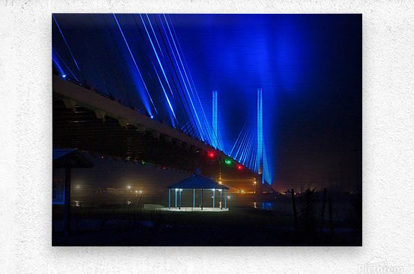 Foggy Night at the Indian River Bridge  Metal print