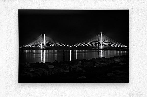 Indian River Bridge After Dark in Black and White  Metal print