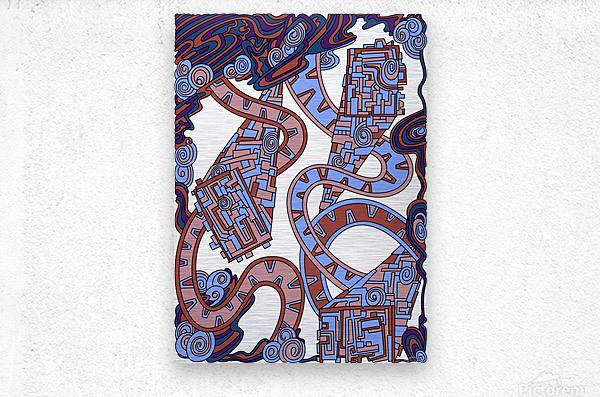 Wandering Abstract Line Art 24: Orange  Metal print