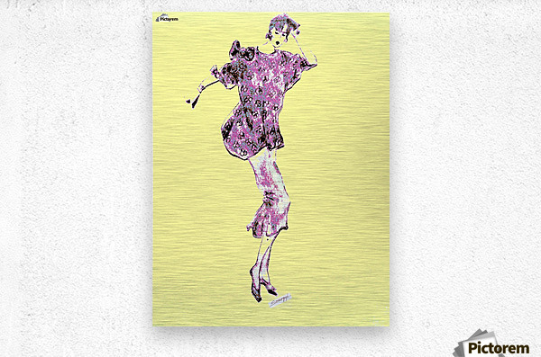 1980's Fashion on Yellow  Metal print