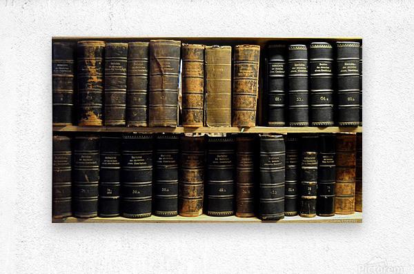 books old vintage library shelves  Metal print