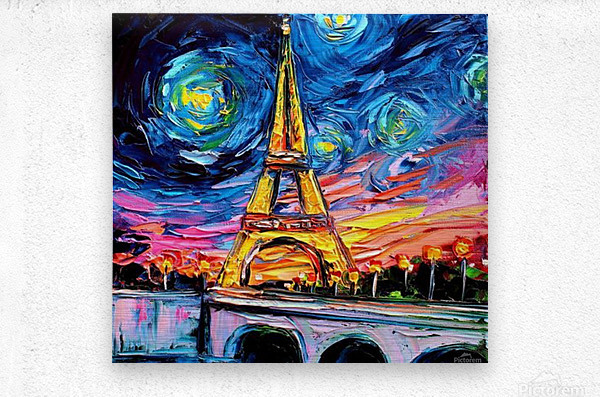 Eiffel Tower Starry Night print van Gogh  Metal print