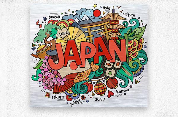 Earthquake and tsunami drawing japan illustration  Metal print