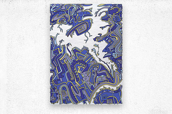 Wandering Abstract Line Art 34: Blue  Metal print