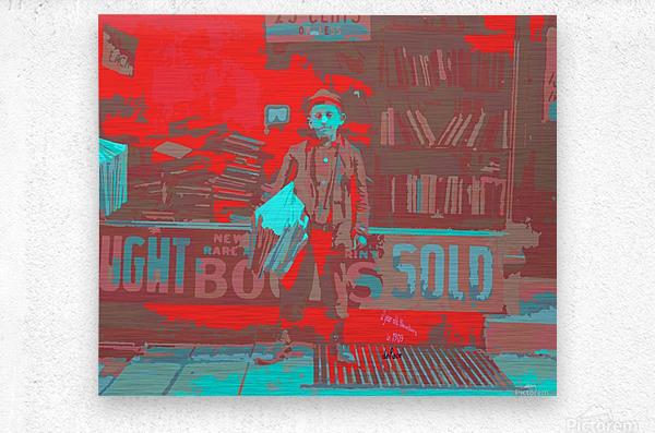 Newsboy in 1909  Metal print