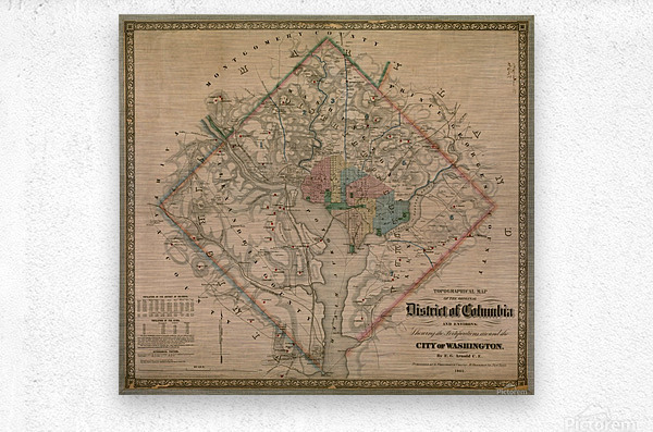 19th Century District of Columbia Map 1862  Metal print