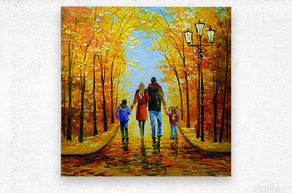 Walk with the whole family in the autumn Park  Metal print