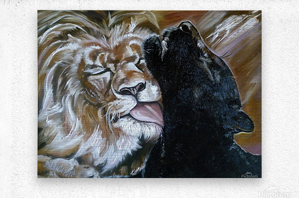The Lion and the Panther  Metal print