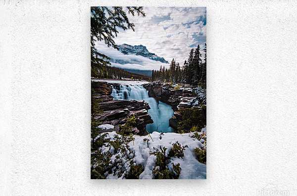 Wintry Waterfall  Metal print