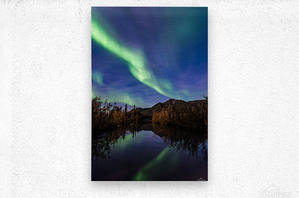 Northern Lights Reflection  Metal print