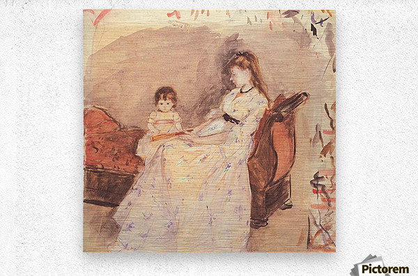 Edma, the sister of the artist with her daughter by Morisot  Metal print
