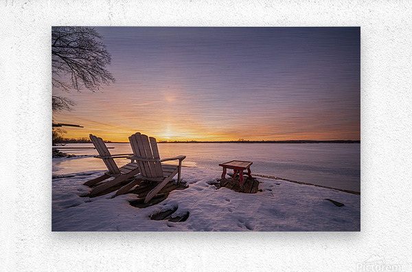 Morning by the Frozen River  Metal print
