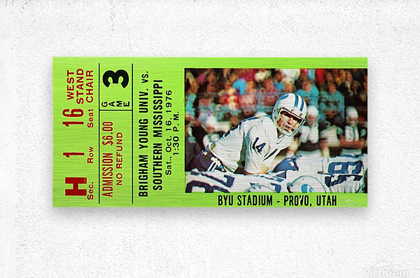 1976 BYU Cougars Ticket Stub  Metal print