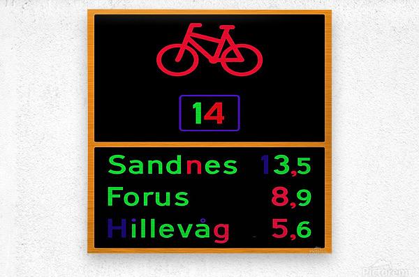 Norwegian bike route sign  Metal print