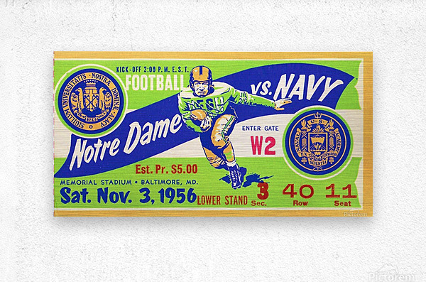 1956_College_Football_Notre Dame vs. Navy_Memorial Stadium_Baltimore_Row One Brand  Metal print