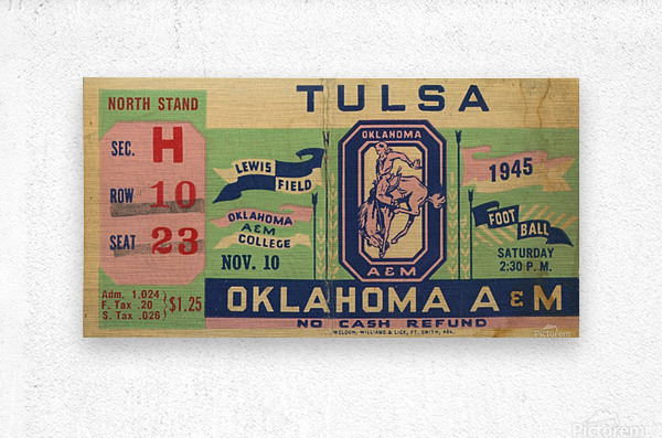 1945 Oklahoma A&M vs. Tulsa  Metal print