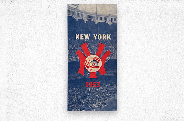 1963 New York Yankees Baseball Cover Art by Row One Brand   Metal print
