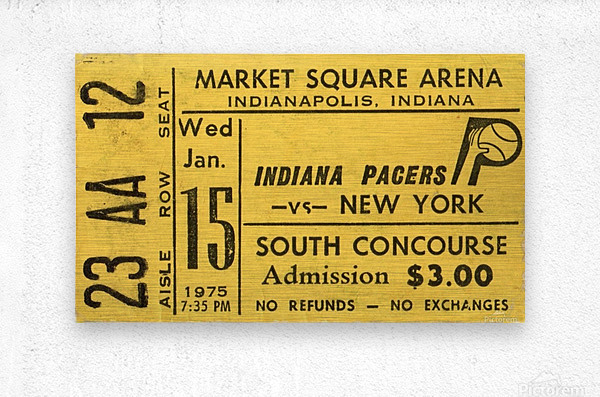 1975_American Basketball Association_New York Nets vs. Indiana Pacers_Market Square Arena_Row One  Metal print