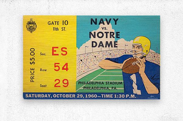 1960_College_Football_Notre Dame vs. Navy_Municipal Stadium_Row One Brand Football Art  Metal print