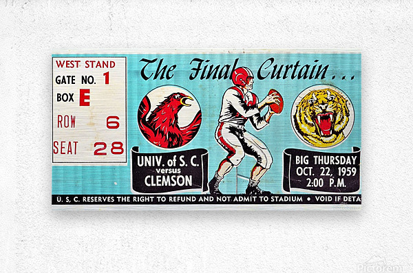 1959 South Carolina Gamecocks vs. Clemson Tigers Ticket Art Row One Brand College  Metal print