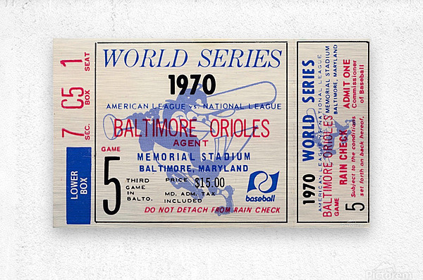 1970_Major League Baseball_World Series_Baltimore Orioles vs. Cincinnati Reds_Memorial Stadium_Row 1  Metal print