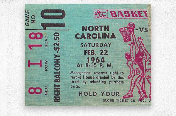1964 College Basketball North Carolina vs. North Carolina State  Metal print