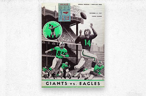 1957 New York Giants vs. Eagles Football Program Canvas  Metal print