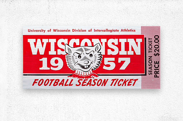 1957 Wisconsin Badgers Season Ticket  Metal print