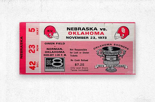 1973_College_Football_Oklahoma vs. Nebraska_Owen Field_University of Oklahoma Football Tickets  Metal print