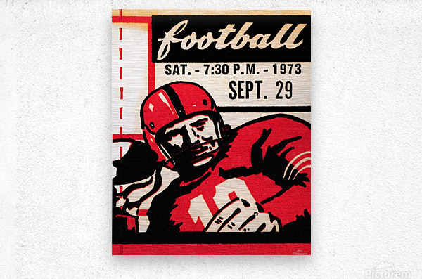 Vintage Football Art_Quarterback Artwork_Vintage Ticket Toss  Metal print