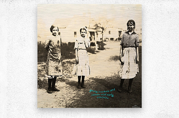 Young Workers at a Cotton Mill early 1900s  Metal print