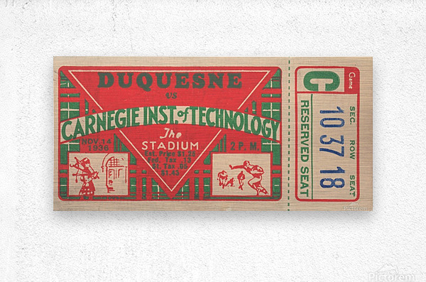 1936_College_Football_Duquesne vs. Carnegie Tech_The Stadium_Pittsburgh College Ticket Collection  Metal print