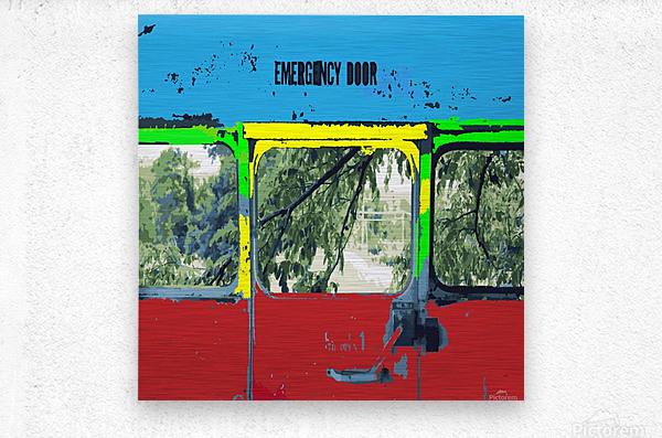 Emergency Door School Bus  Metal print