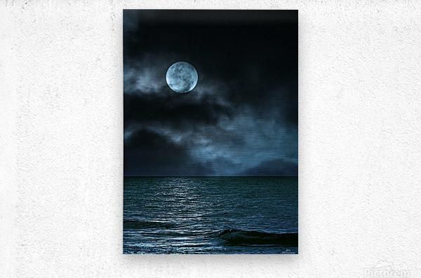 Cloudy Moon Shore at Night  Metal print