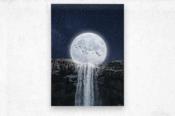 Moon Waterfall Fantasy  Metal print