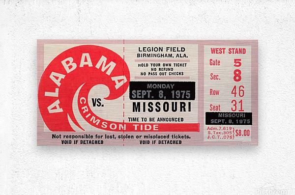 1975 College Football Ticket Collection_Alabama vs. Missouri_College Ticket Stub Art (1)  Metal print